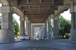 Under the Highway 99 bridge spanning Lake Union.